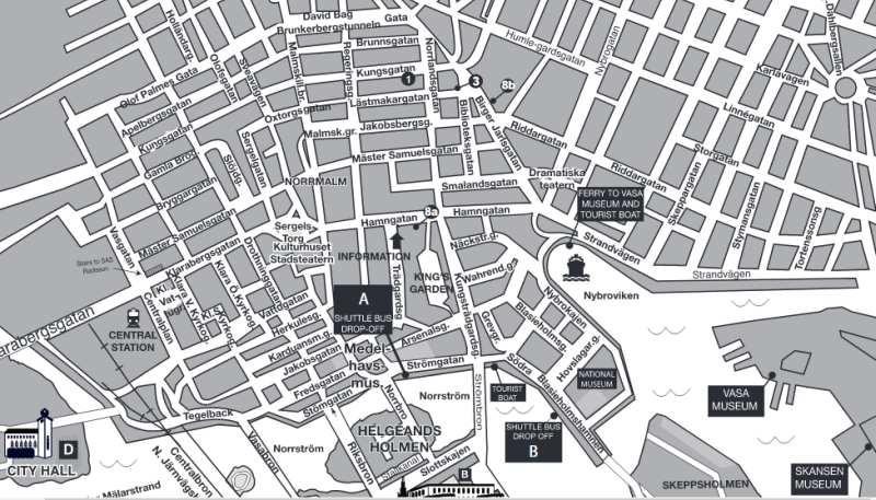 Karte von Stockholm für Landausflügler die Stockholm auf eigene Faust erkunden möchten