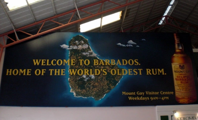 Mount Gay Werbung im Barbados Cruise Terminal
