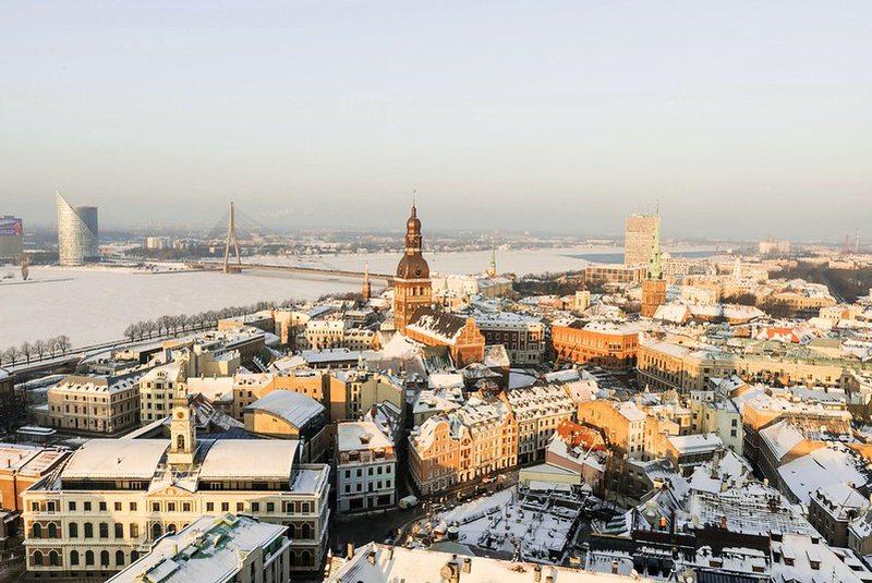 Blick auf der winterliche Riga