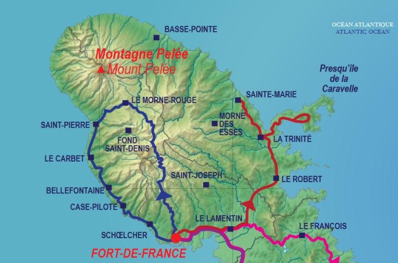 Karte des Nordens von Martinique