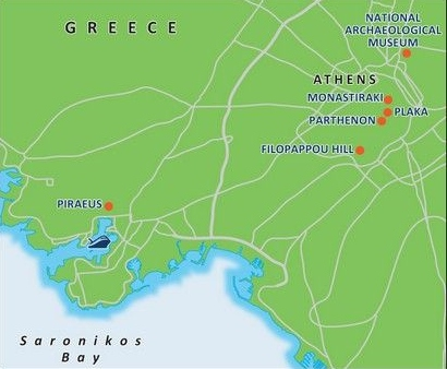 Karte mit Zielen für Landausflüge in Athen
