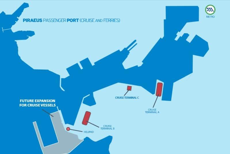 Karte des Hafens von Piräus
