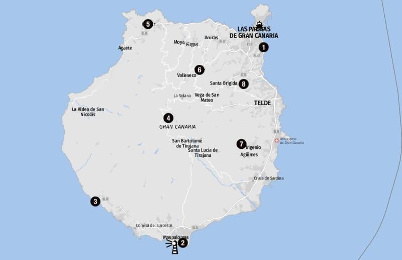 Ziele für Landausflüge auf der Karte