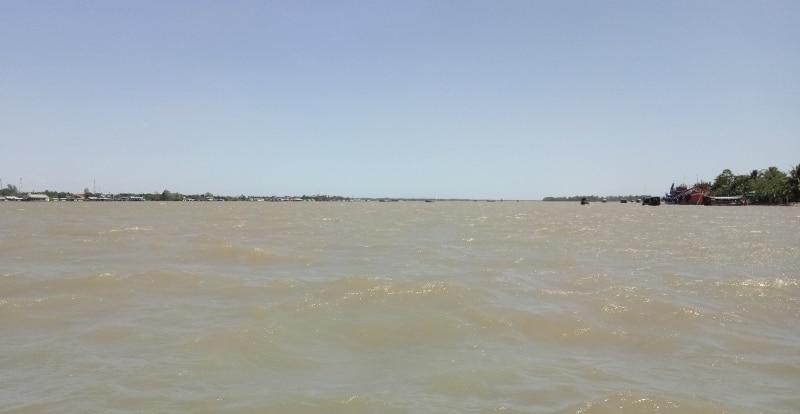 Ein Flussarm des Mekongdeltas