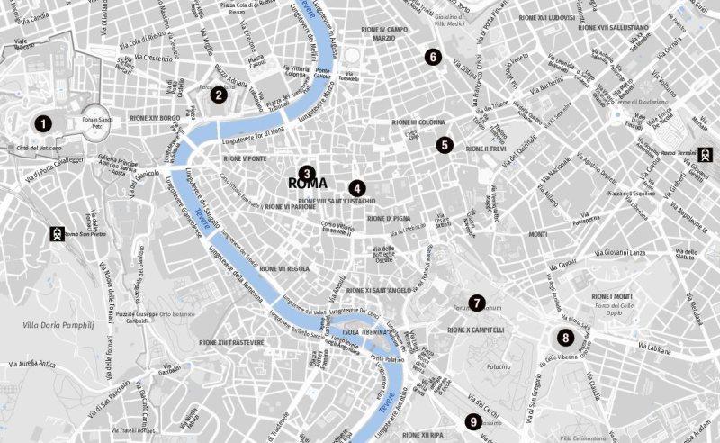 Karte für Landausflüge in Rom