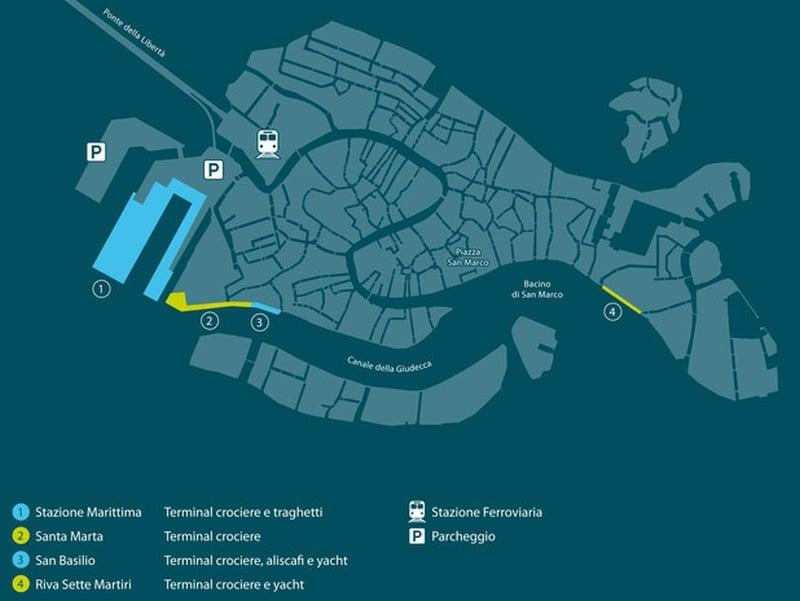 Lage der Liegeplätze in Venedig